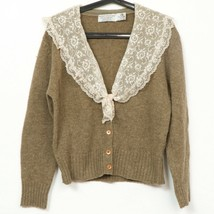 Robert Scott Granny Cardigan Sweater L VTG Lace Collar Shetland Wool Sco... - $37.30