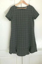 Ann Taylor LOFT Flounce Dress 12 Knit Gray Pink Plaid Short Sleeve Knit ... - $39.59