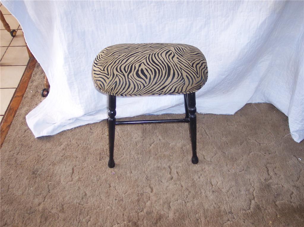 Animal Print Maple Vanity Bench