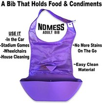 No Mess Adult Bib - Holds Food and Condiments - On The Go Bib Ultra Violet
