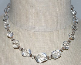 VTG Gold Tone Faceted Clear Cut Crystal Beaded Art Deco Choker Necklace D - $79.20