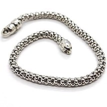 18K White Gold Bracelet, 18.5 Cm, 7.3 Inches, Basket Weave Tube, 4 Mm Thickness - $738.15