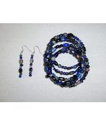 Glass and Ceramic Bead Gypsy Bracelet and Earring Set Dark Blue - $8.00
