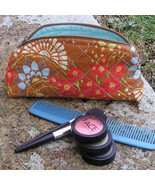 Handcrafted Cosmetic Case Zippered Makeup Bag - Amy Butler Lotus Geisha ... - $14.00
