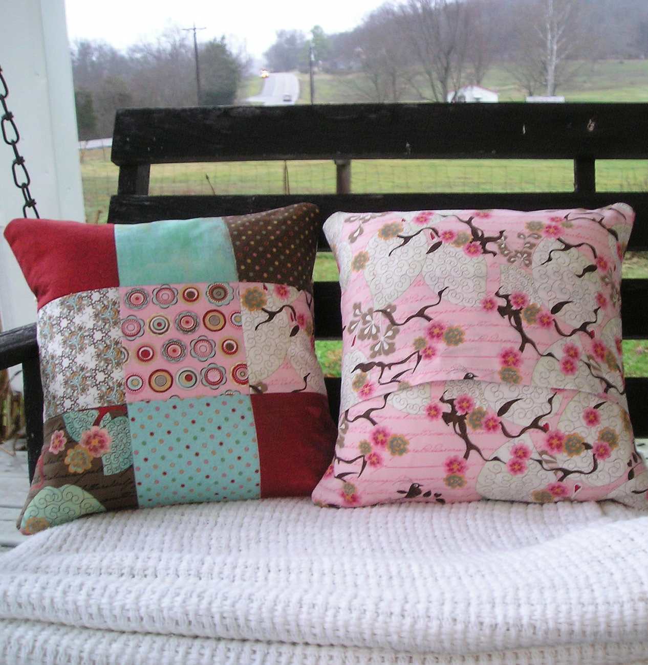 Quilted Pillow Cover Pair 14 Inch MODA Blush by BasicGrey