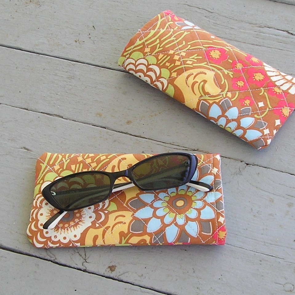 Handcrafted Sunglass / Eyeglass Case - Amy Butler Lotus Geisha Fans