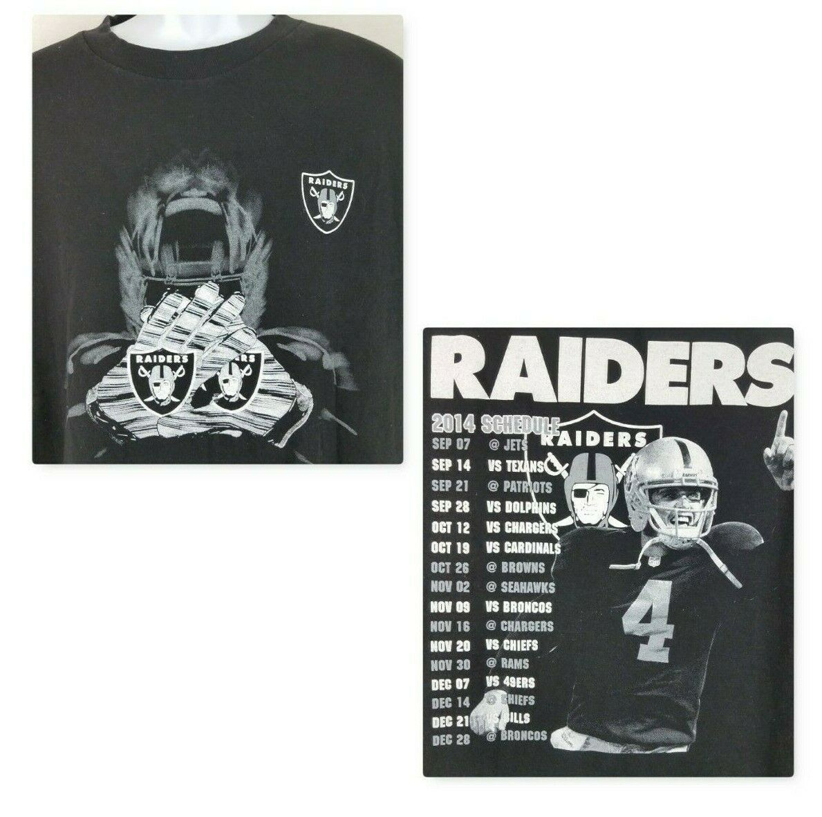 Oakland Raiders 2014 Schedule T Shirt 3XL Derek Carr Black White Alstyle Cotton - $20.43