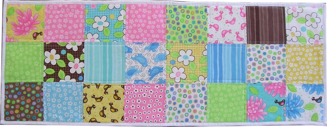 Mid-Sized Quilted Patchwork Table Runner Birdie By MODA Great for Spring
