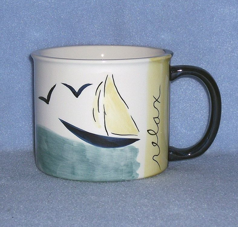 Eddie Bauer Home Sailboat Relax Coffee / Soup Mug Sailing Theme