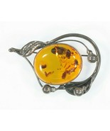 Vintage Sterling Silver Amber and Flower Brooch Pin 24.1g - $428.80
