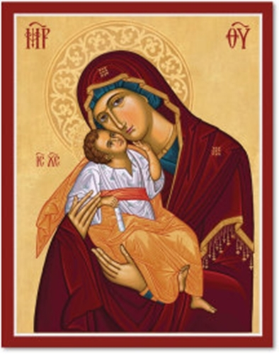 "Primary image for Cretan-Style Virgin of Tenderness Icon - 3"" x 4"" Wooden Plaque With Lumina Gold"