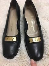 Boutique Size Black Heels 2A Salvatore Buckle Ferragamo 5 Gold 7 Narrow 5nPYwOq