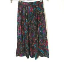 Vintage Lady Diplomat Pleated Skirt Pull-on Long Maxi Women Size 6 Multi... - $24.74