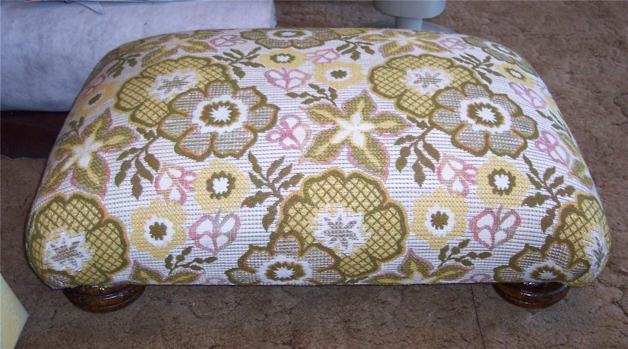 Bright Flower Print Footstool/Ottoman