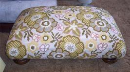 Bright Flower Print Footstool/Ottoman - $169.00