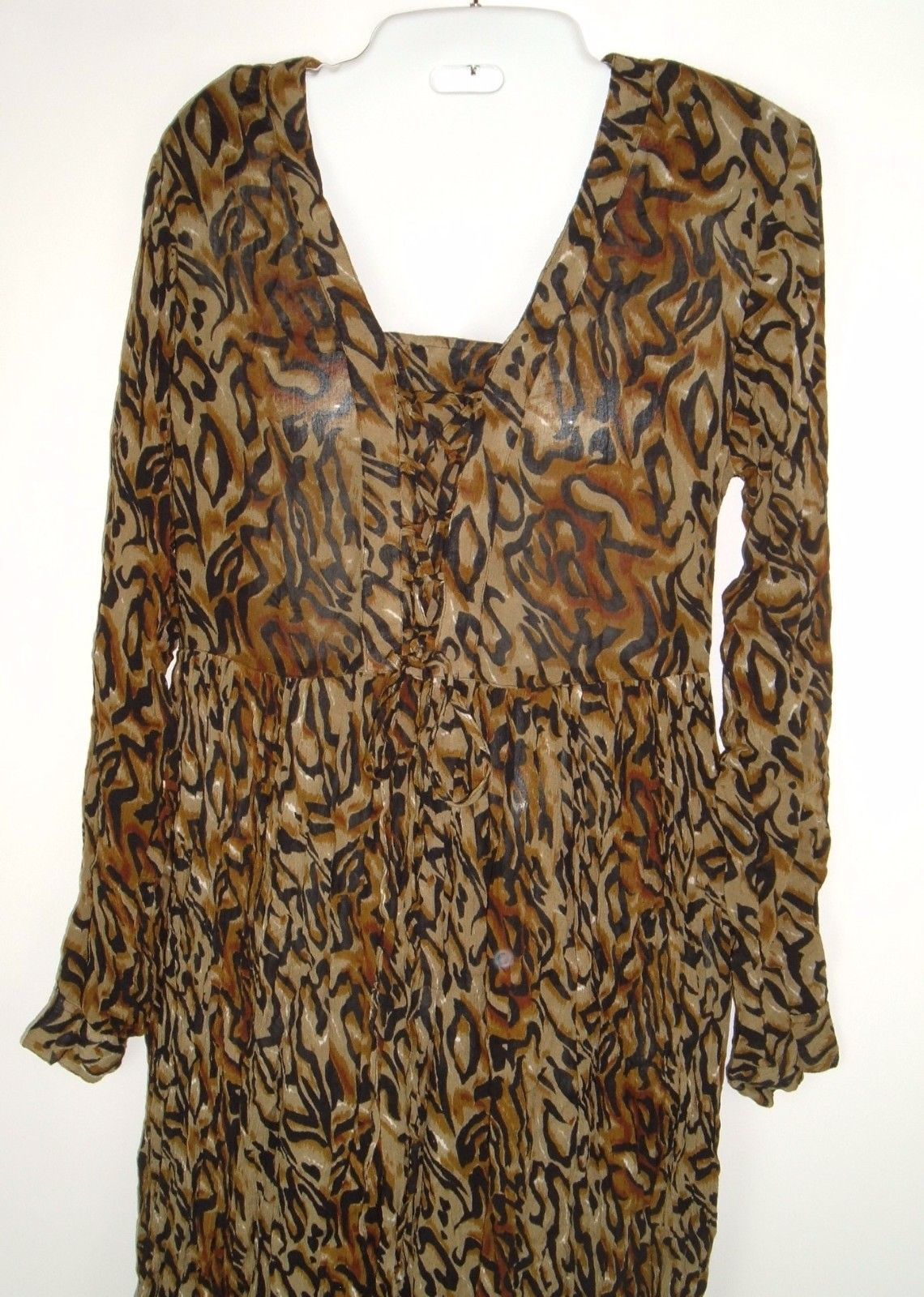 Vtg M.P.H. Rayon Boho Peasant Animal Print Lace Front Long Crinkle Dress Sz M