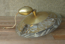 Vintage Midcentury Modern Flying Saucer Hanging Light Lamp Metal Glass W... - $149.99