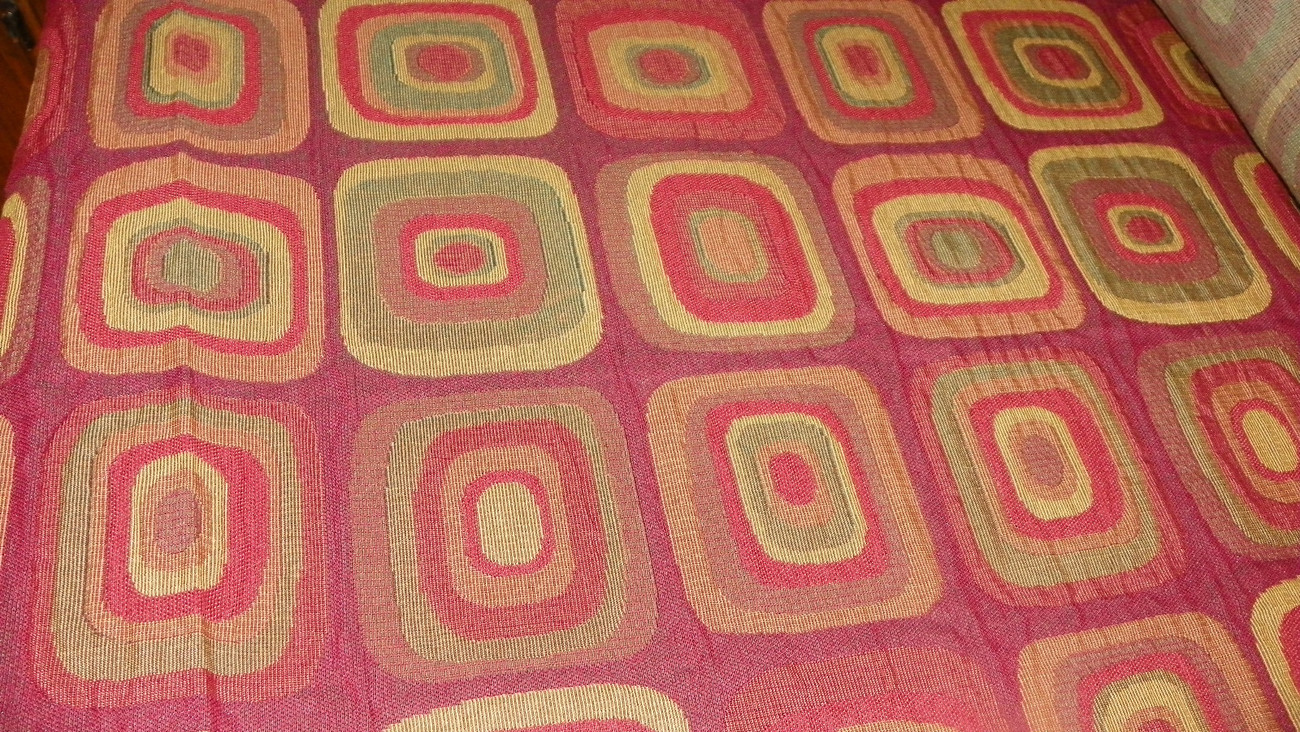 Burgundy Green Gold Abstract Print Upholstery Fabric 1  Yard  R723