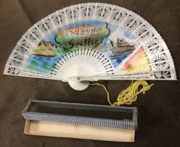 Rare Vintage Seattle Souvenir Ladies Folding Pierced Plastic Hand Fan White - $20.57
