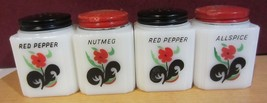 Vintage Milk Glass Spice Shakers / jars - red blossoms -red floral - $142.50