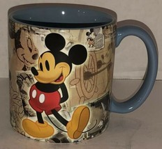Mickey Mouse Walt Disney World Blue Ceramic Coffee Mug Cup Through The Years Htf - $46.95