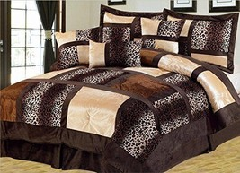 Cal King Sized Leopard Patchwork Micro Suede Comforter Set  7 Pieces - £68.50 GBP