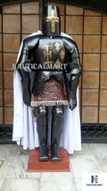 Black Knight Crusader Templar Suit Of Armor Medieval Reenactment SCA Body Armour - $899.00