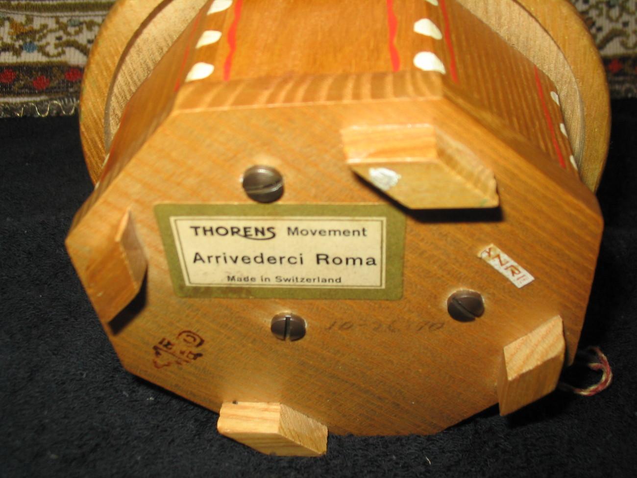 Anri Music Box Thorens Swiss Arriverderci Roma