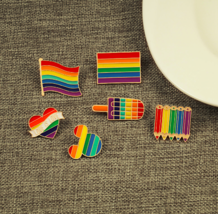 Pride Rainbow Flags Enamel Pins Cute Heart Brooches Badge Denim Jackets ... - $19.00