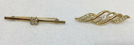 Brooch Pins Bars Avon Rhinestones Gold Tone Metal Vintage Lot 2 Brooches  - $12.86