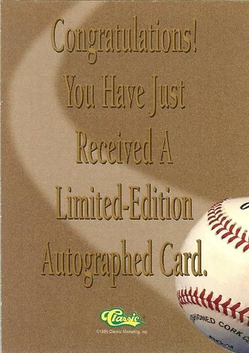 tony mcknight autograph 1995 classic rookie limited edition