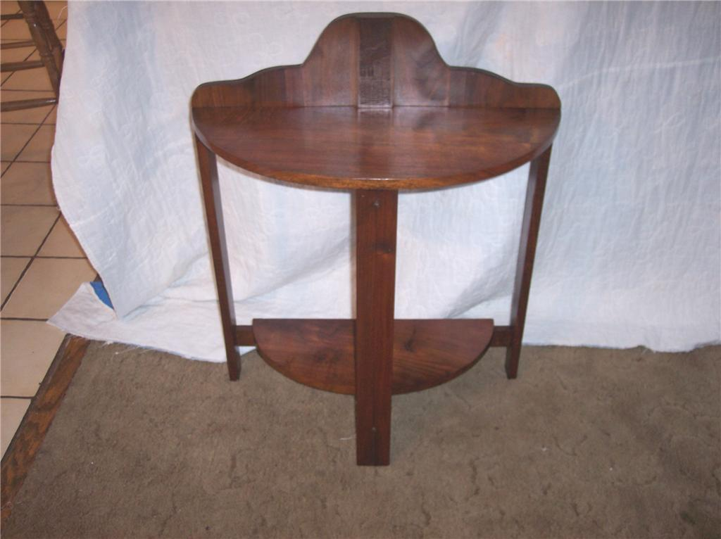 Carved Walnut Demilune Entry Table End Table carved back splat