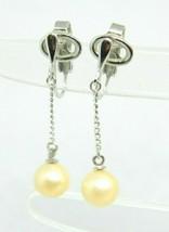 Crown Trifari Faux Pearl Silver Tone Dangle Earrings Vintage - $19.79