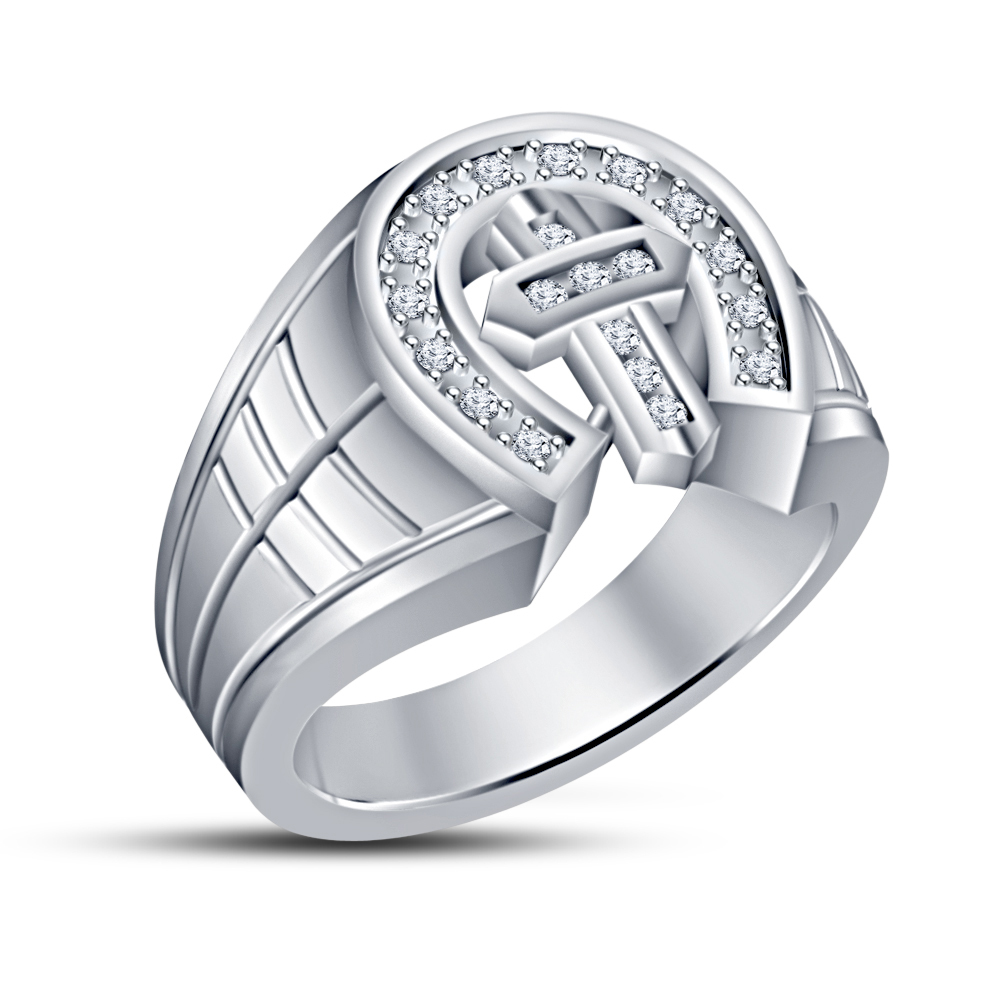 Simulated Diamond White Gold Gp 925 Silver Cross Engagement & Wedding Band Ring