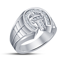 Simulated Diamond White Gold Gp 925 Silver Cross Engagement & Wedding Band Ring - $80.50