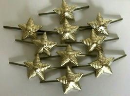 Lot of 10 Russian Army Lieutenant Epaulet metal Rank Star pin. Gold Ribbed 13 mm - $5.84