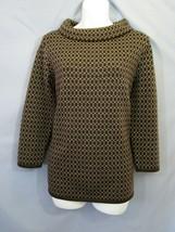 Talbots Womens M Sweater Top Merino Wool Brown Geometric Cowl Neck Caree... - $31.50