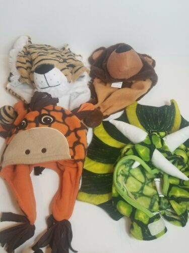 Primary image for Lot Bundle of 4 Boys Winter Hats Cap Plush Animals Bear Tiger Dragon Giraffe