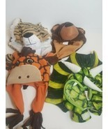 Lot Bundle of 4 Boys Winter Hats Cap Plush Animals Bear Tiger Dragon Gir... - $24.49
