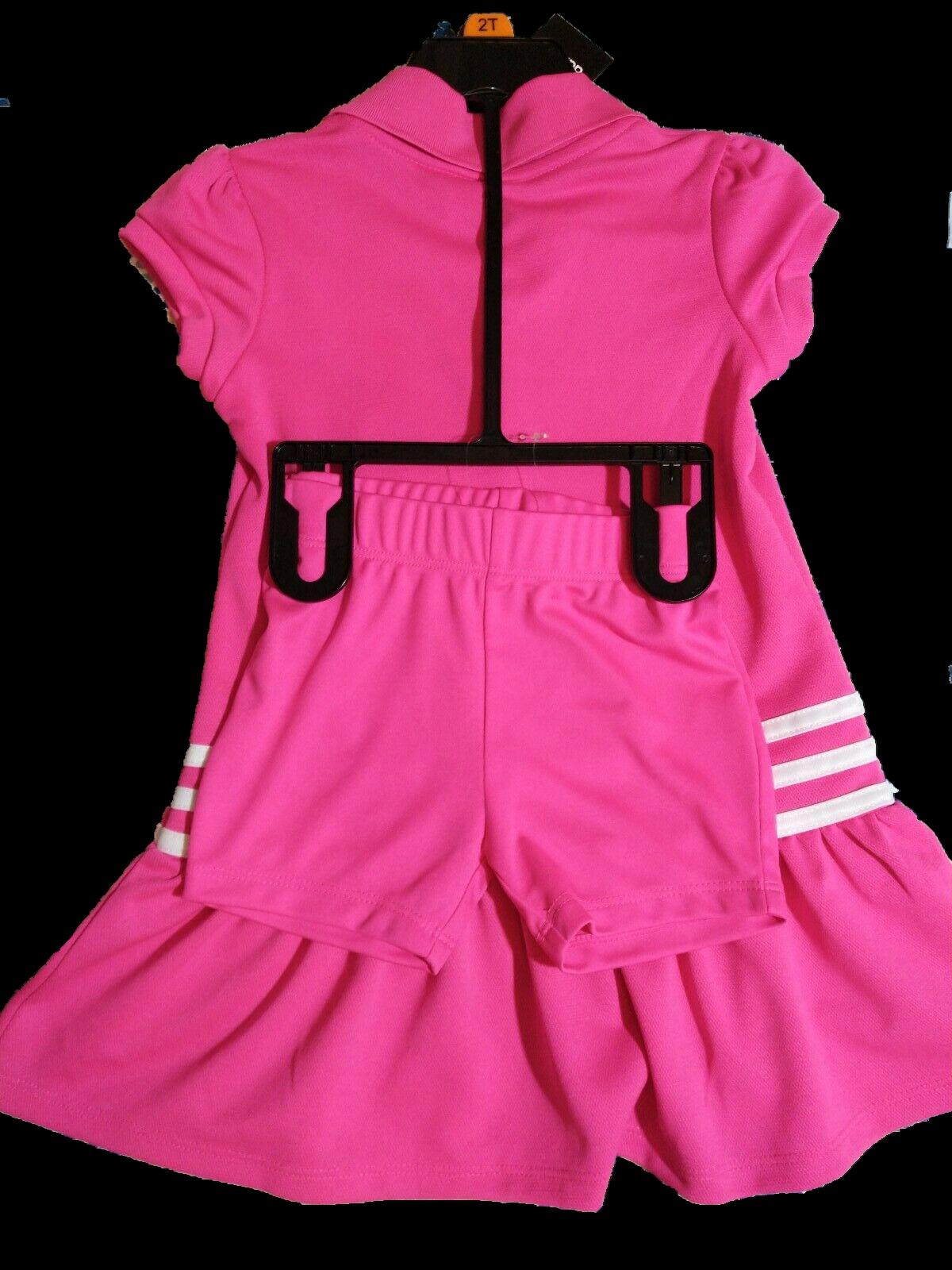 *Adidas Toddler Girls 2 Piece Ruffled Polo Shirt Bloomers Dress Set Pink 2T NWT*