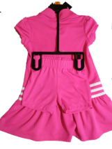 *Adidas Toddler Girls 2 Piece Ruffled Polo Shirt Bloomers Dress Set Pink 2T NWT*