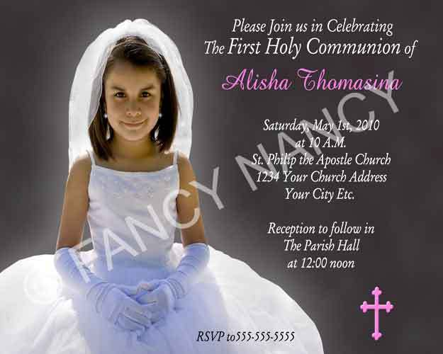 Primary image for 1st First Holy Communion Confirmation Custom Photo Personalized Invitation Card