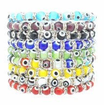 Evil Eye 6mm Glass Turkish Nazar Hamsa Judaica Kabbalah Beaded Stretch B... - $4.99+