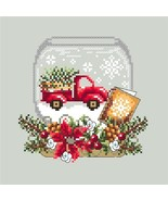 Truck Snow Globe red truckchristmas holiday cross stitch chart Shannon C... - $10.00