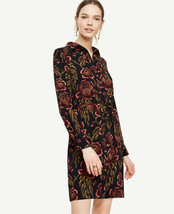 Ann Taylor Shirt Dress XS S M Navy Blue Red Floral Rose Garden Tie Long ... - $39.99