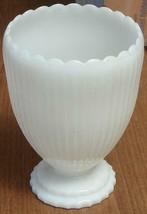Vintage Napco Milk Glass Footed Vase - VGC - ESCALLOPED RIM - PRETTY DESIGN - $39.59