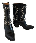 Donald J Pliner Western Couture Collection Black Silver Studded Boots 6 - $175.00