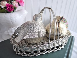 Silver Plate Birds In Basket Salt and Pepper 1970s Vintage Dining Fancy ... - $48.00