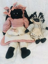 "2 Vintage Black Americana Folk Art Hand Made Rag Dolls 23"" Mother & 12"" ... - $57.09"