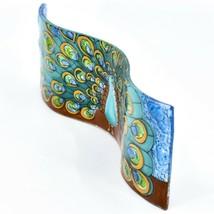 Fused Art Glass Peacock Showy Plume Wavy Decor Sun Catcher Handmade Ecuador image 2